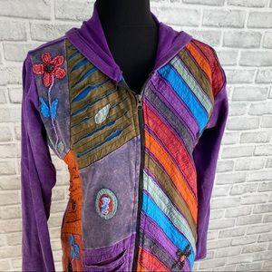 Rising international purple patch hippie sweater